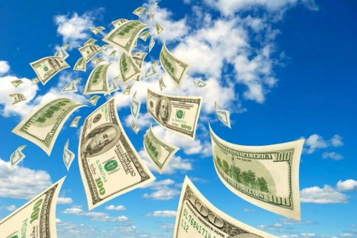 money in clouds