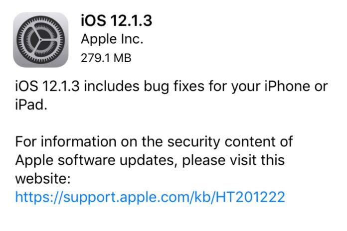 Apple IOS 12.1.3