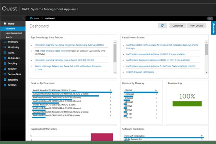 Kace System Management dashboard